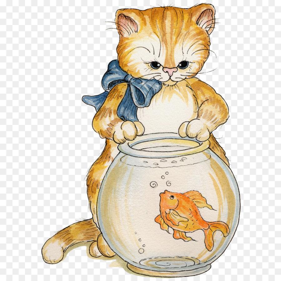Картинка кошки с рыбкой
