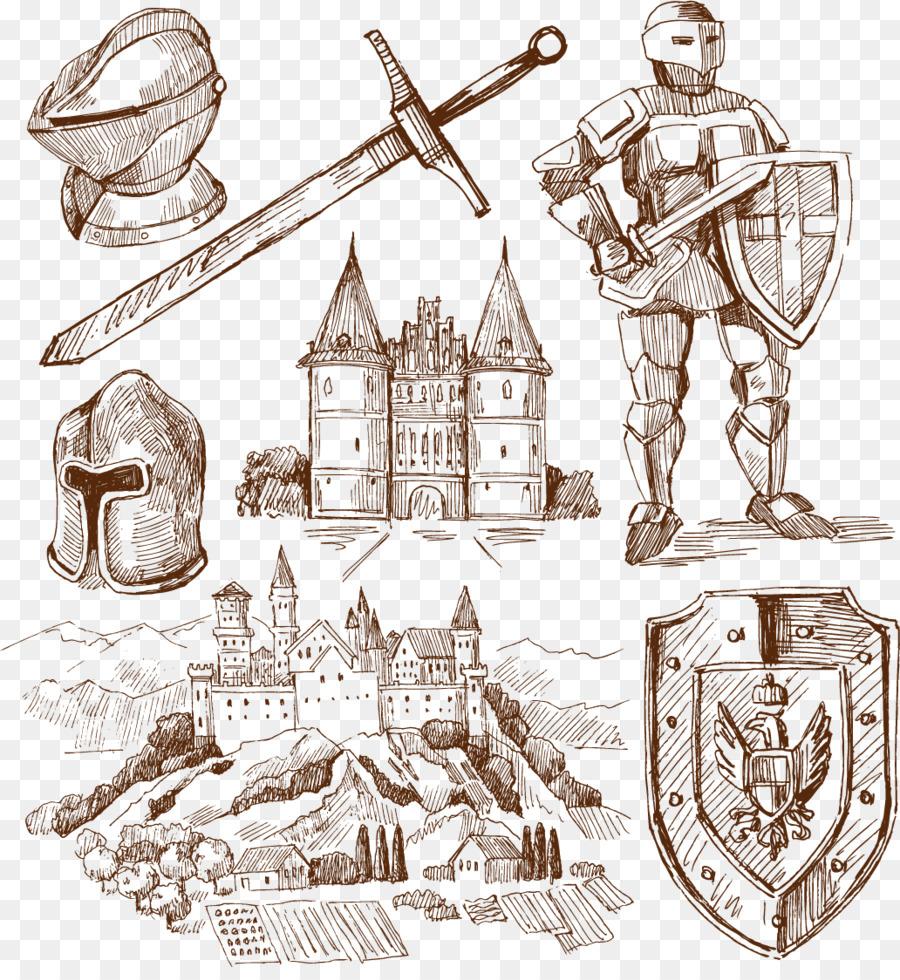 Рисунок рыцарей и замков