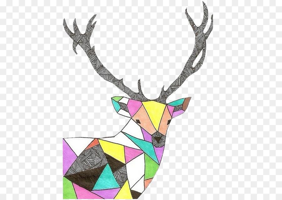 Картинки олень треугольниками