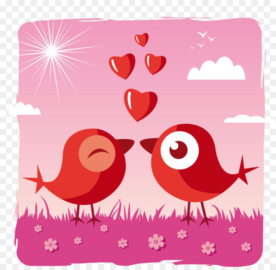 Открытка с птицей и сердечками на день святого валентина, открытка открытки подруге