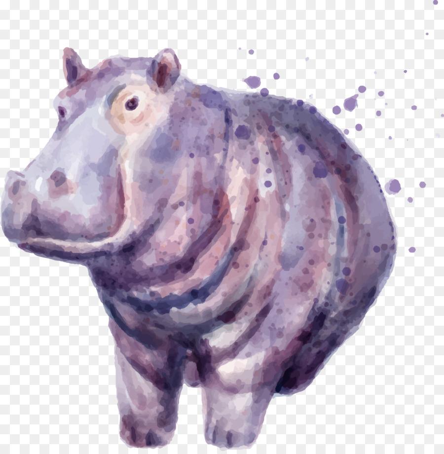 Рисунки бегемота акварелью