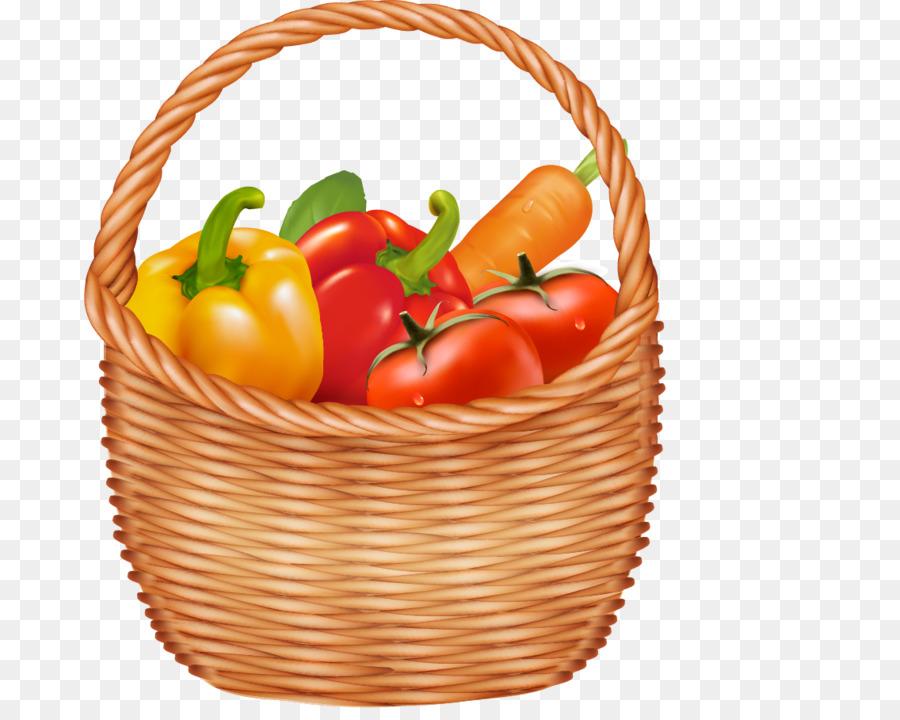 Картинка корзина с фруктами и овощами, месяцем брак
