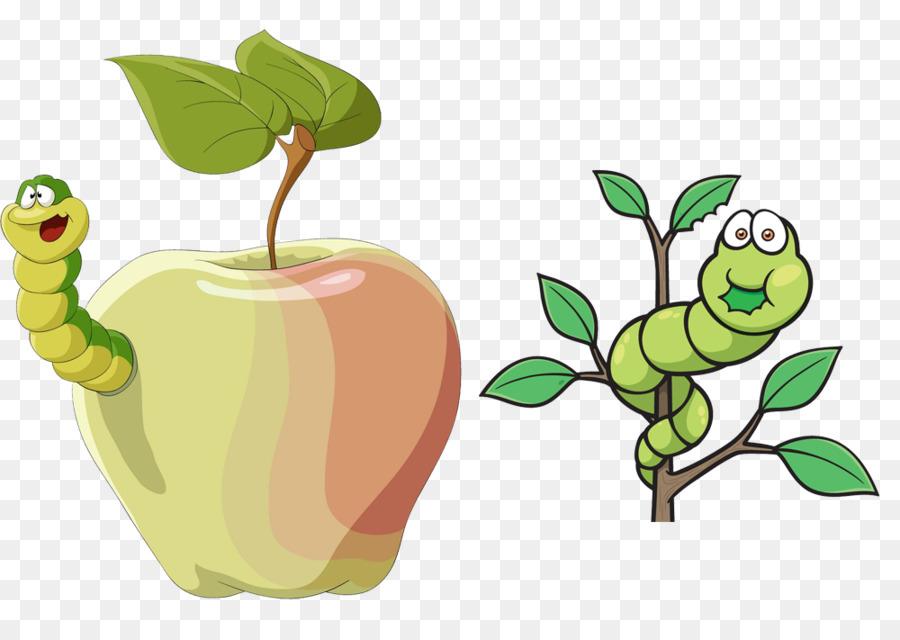 Яблоко и в нем гусеница картинка