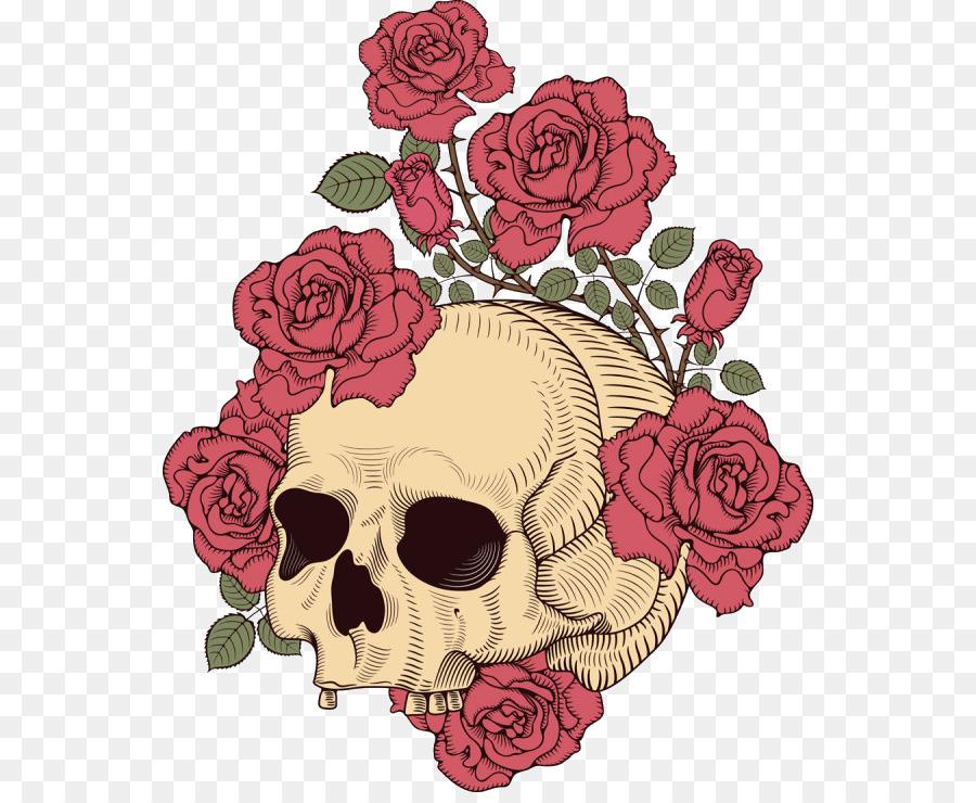 рисунки с черепами и розами может быть