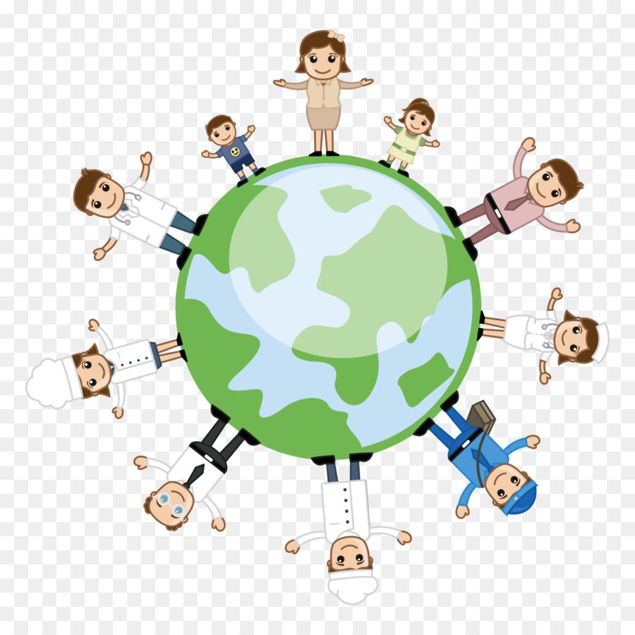 Картинка с людьми вокруг земли