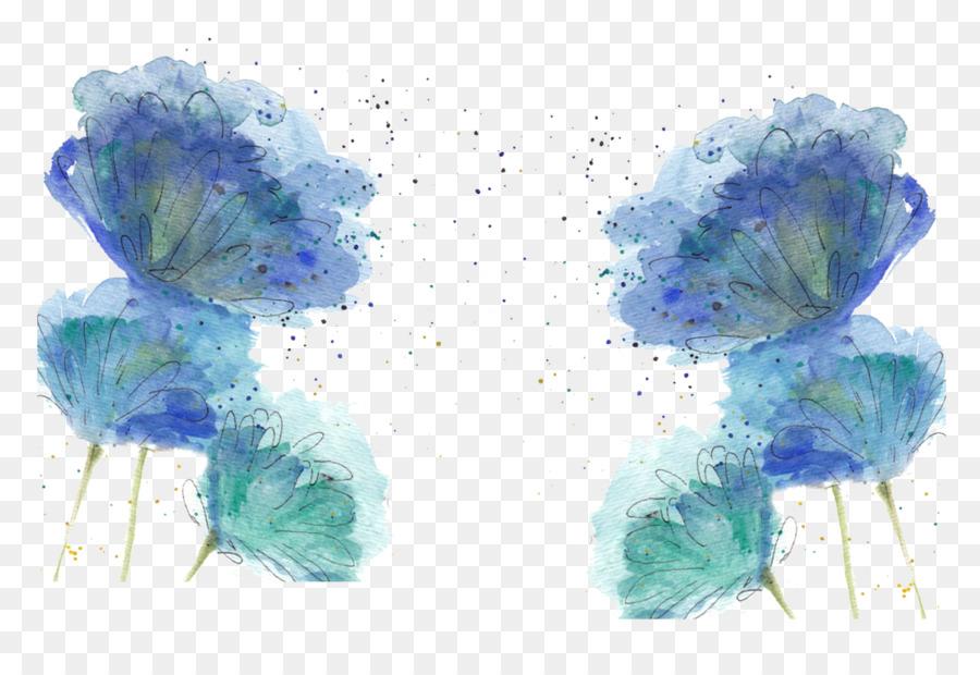 Голубые акварельные картинки