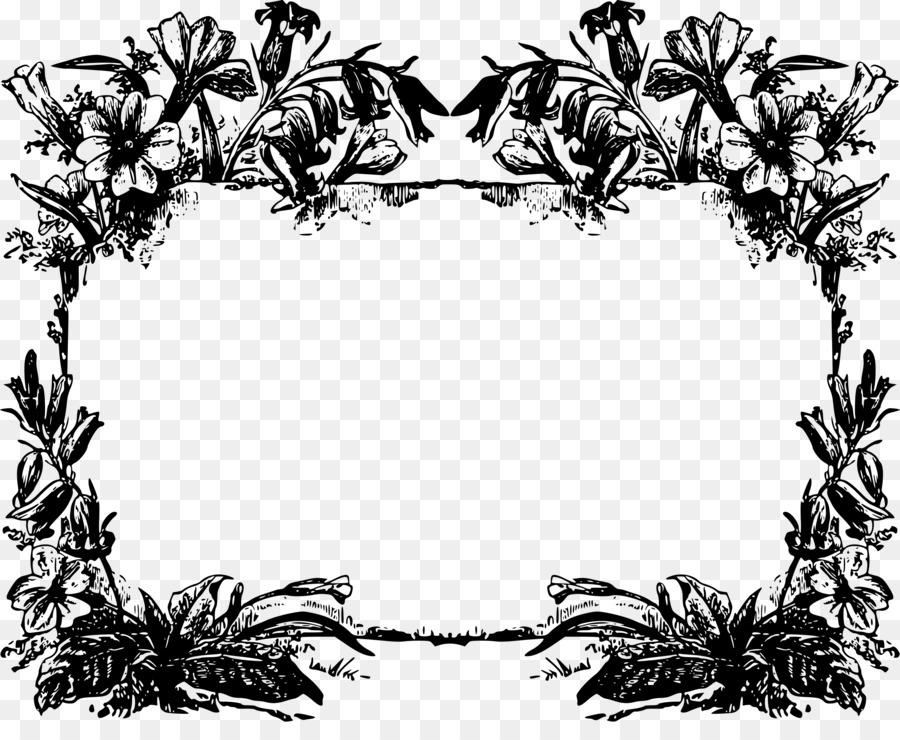 Цветы для рамки картинки черно белые