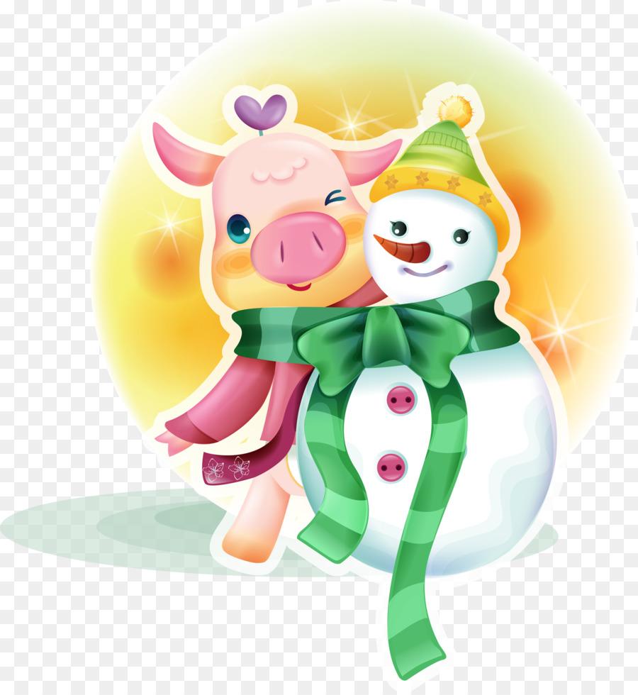 генерация картинка новогоднего символа свиньи нестандартное, креативное