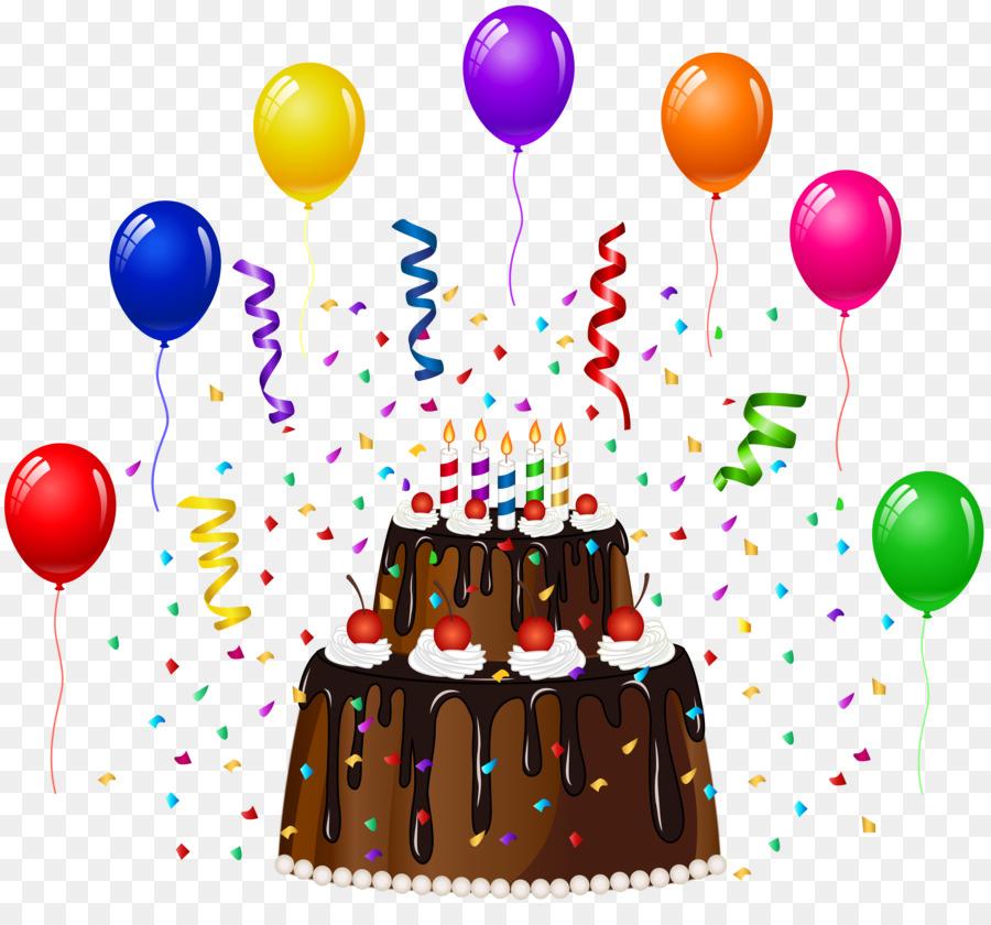 Картинка с тортом и шариками на день рождения