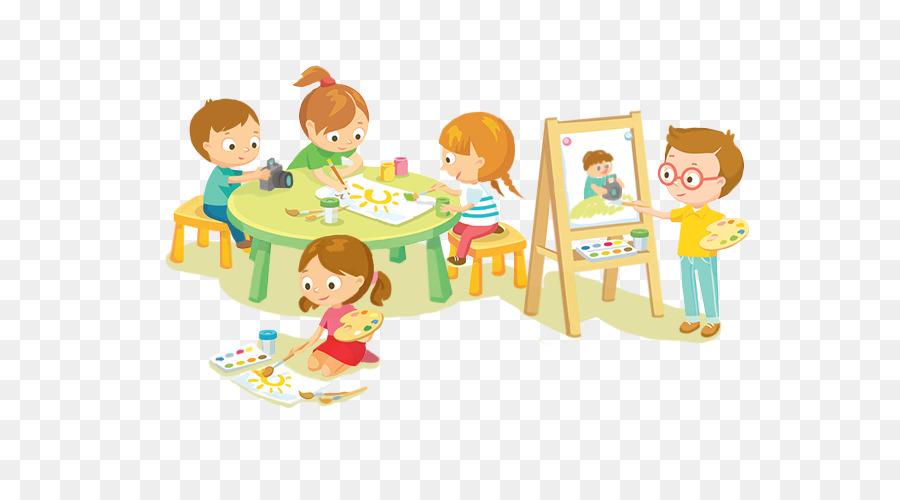 Картинка дети занимаются рисованная
