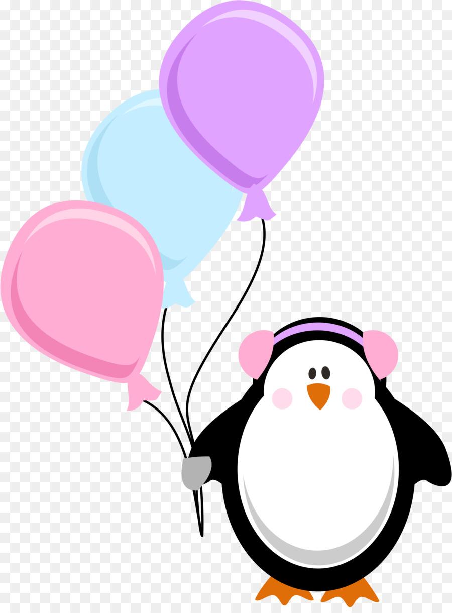 Открытка пингвин с шариками, тортом