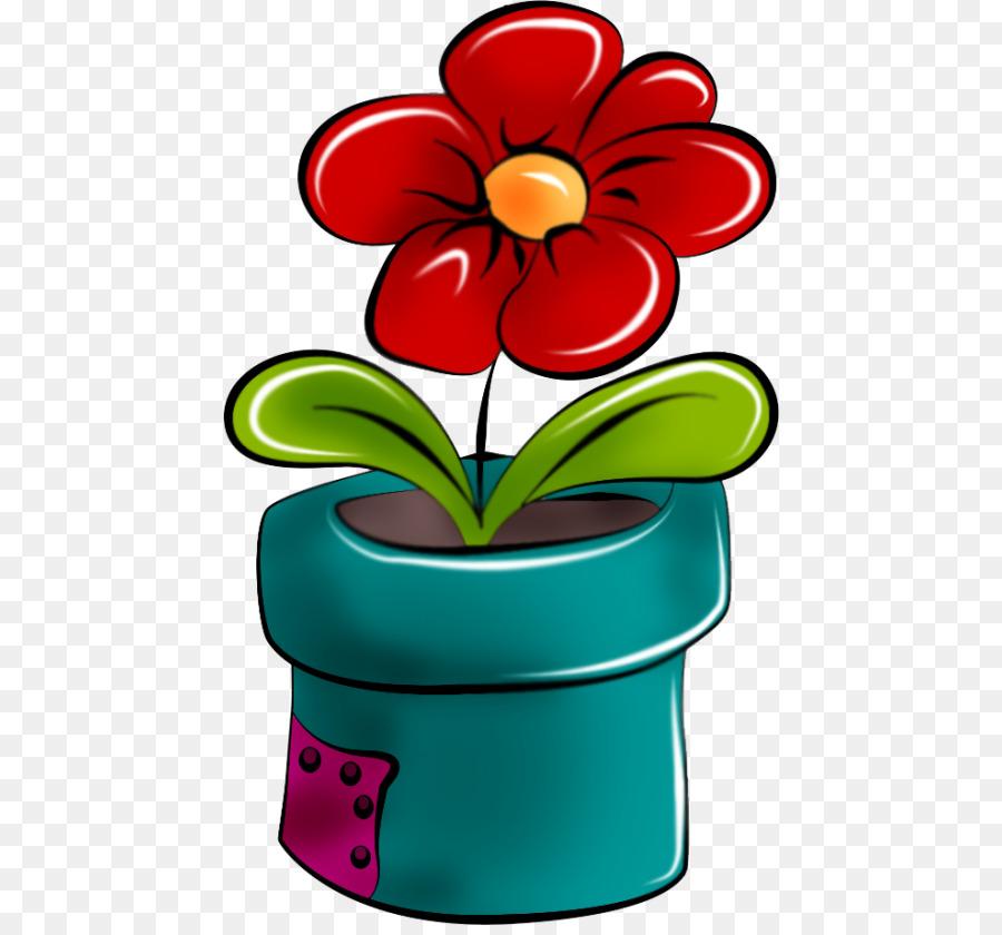 Картинки нарисованных цветов в горшке