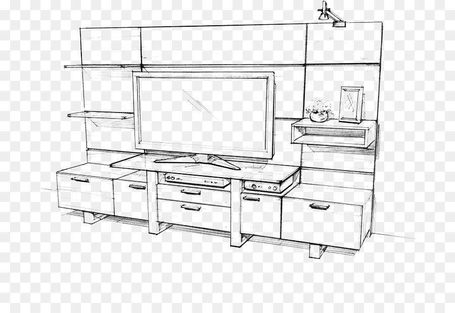 рисовать рисунок тумбочка с телевизором карандашом это
