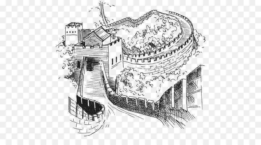 рисунки черно белые китайской стены