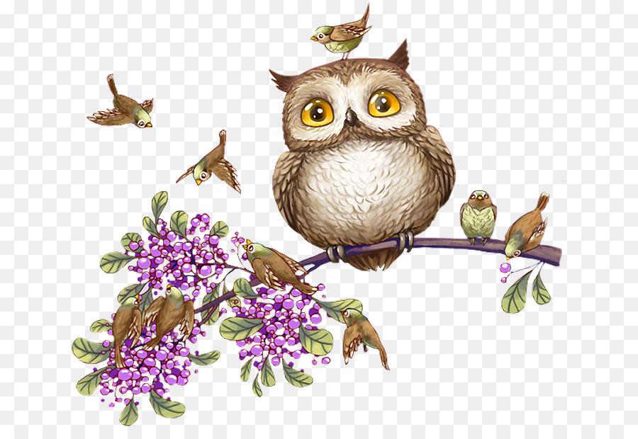 Для подруги, открытки совы с цветами