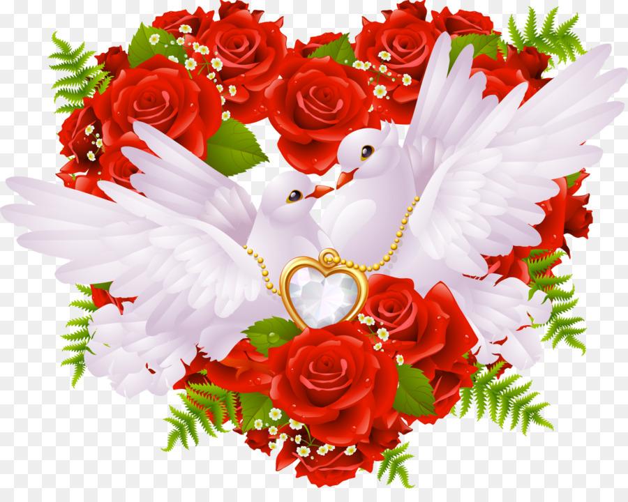 Открытки сердце голуби