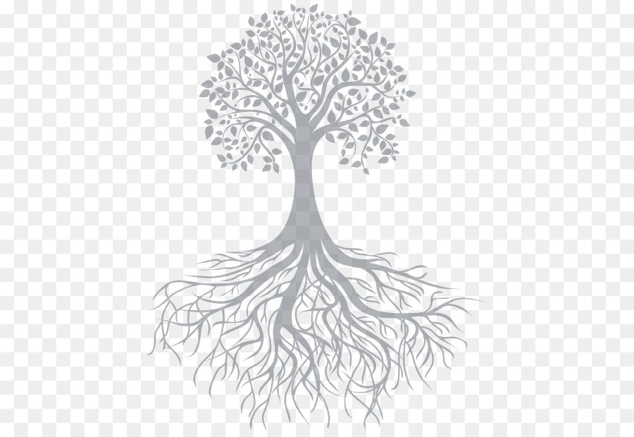 Шаблон красивого дерева с корнями