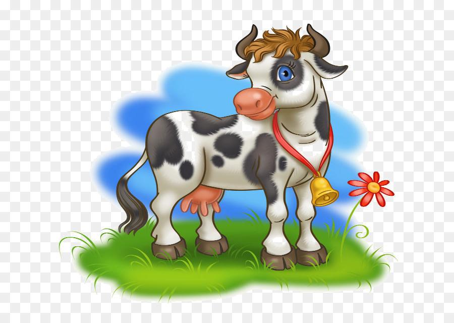 Картинка корова на лугу для детей