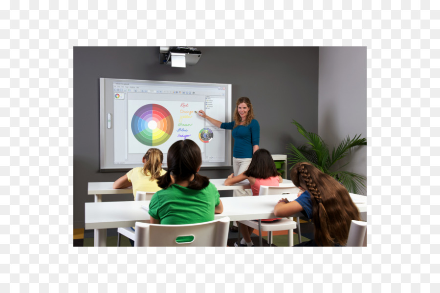 classroom with smartboard clipart - 728×596