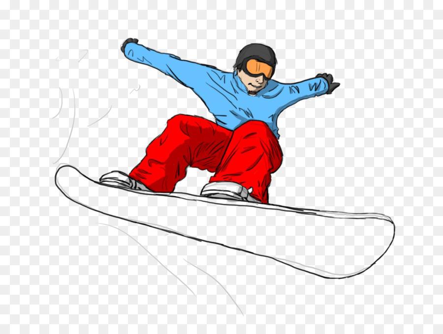 Рисунок сноубордиста в горах