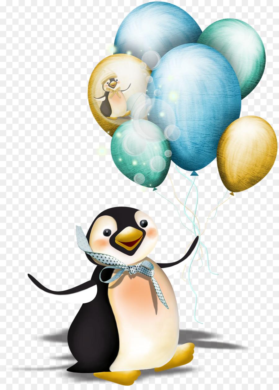 Днем, открытка пингвин с шариками