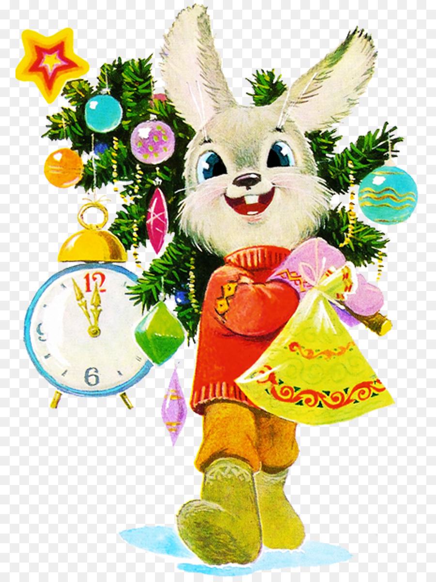 Открытка заяц на новый год
