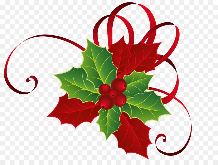 На открытке новогодней листик и ягодка